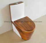 Tocador de madera de una sola pieza del color de la textura del armario de agua del tocador de cerámica (A-007S)