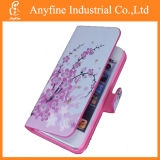Ameixa Flower e Pink Leather Wallet Skin Flip Caso Cover