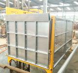 Los materiales alzan para el emplazamiento de la obra, almacén con el panel de control alejado
