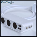 Car Charger 4 USB Port & 3 Cigarette Lighter Hub Socket