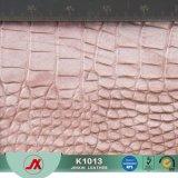 Do material metálico da cor do couro da pele animal da tela couro artificial gravado crocodilo do PVC para sacos, sapatas
