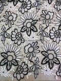 白およびBalck服0009のための二重カラー100%年のポリエステルレースファブリック衣服Accessorie
