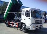 el brazo de gancho de leva de las ruedas 10cbm 6 cae el carro de la basura 10 toneladas del gancho de leva de carro de basura