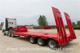 3-Axle Lowboy/bas semi-remorque à plat avec des échelles, remorque de camion