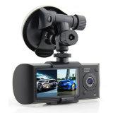 Камера Dashcam DVR X3000 автомобиля R300 удваивает объектив с GPS