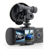 R300 차 사진기 Dashcam DVR X3000는 렌즈 GPS를 가진 이중으로 한다