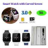 2016 neues entwickeltes Bluetooth Uhr-Telefon mit gebogenem Bildschirm (X6)