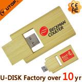 Le flash en bloc en gros conduit le bâton en bambou en bois d'USB de pivot de carte