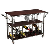 Carton Fodable Rolling Wood et Metal Wine Rack Acrylique Wine Glass Display