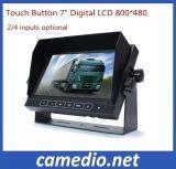 Opinião traseira do monitor de 7 Digitas LCD da tecla do toque da polegada com o altofalante para veículos