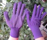 PVC小型点青いポリエステル手袋の安全作業手袋
