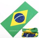 Bandana tubolare reso personale promozionale dei tifosi stampato bandiera nazionale senza giunte su ordinazione del Brasile di stile