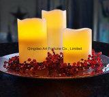 Sopa de mariscos amarillenta grande LED encendida vela perfumada del pilar de la vainilla sin llama con pilas de la cera