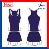 Azul y blanco personalizado vestido de tenis faldas ropa para las mujeres