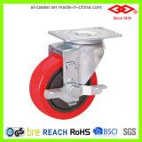4 Zoll-Schwenker-Platte mit einzelnes Bremse PU-Rad-mittlerem Aufgaben-Fußrollen-Rad (P120-36E100X30Z)