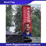 Volo della spiaggia che fa pubblicità alla bandiera del blocco con vetroresina Palo