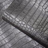 A pele preta do crocodilo da cor gosta do couro artificial do plutônio, couro do saco