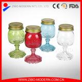 Choc de maçon en verre bon marché en gros de la coutume 10oz avec les couvercles et la cheminée