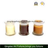 Vela de cristal llenada cera del tarro con la tapa de cristal