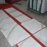 Modèles de marbre de tuile de Calacatta de porcelaine, tuile de marbre blanche Polished de porcelaine