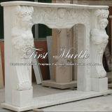 Cheminée blanche Mfp-266 de Carrare de cheminée en pierre de marbre de granit
