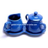 Pot et crémeuse en céramique de sucre vitré par couleur réglés avec le plateau (GW1329A3)