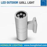 Lumière extérieure de mur de la lumière IP65 RVB DEL de DEL à travers la lumière haut/bas d'endroit de pilier du mur 6W*2heads