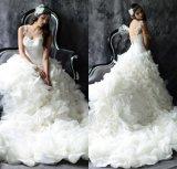 Vestido de casamento nupcial HS2017 dos plissados de Organza do vestido de esfera do querido