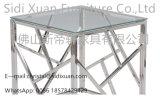 Tabela de extremidade moderna e contemporânea do aço inoxidável com parte superior do vidro Tempered
