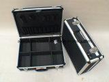 Armazenamento de alumínio Lockable do organizador da caixa de ferramentas do caso do vôo dos eletricistas com cinta