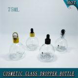 75ml borran la botella de cristal cosmética del cuentagotas botella de cristal redonda de 2.5 onzas