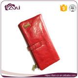 Женщины бумажника кожи кожи масла воска красного высокого качества Handmade
