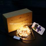 Fio de cobre da luz estrelado de controle remoto da corda com luz branca morna do temporizador na luz da decoração do Natal da caixa
