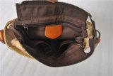 Sacchetto trasversale di cuoio di corse della spalla di svago della tela di canapa della pelle bovina (RS-1013A)