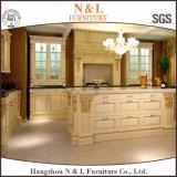 Gabinete de cozinha ajustado da madeira contínua da mobília de madeira moderna de N&L