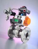 Válvula de bola con brida neumática de acción simple con material de acero inoxidable