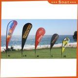 Bandera de encargo al por mayor que hace publicidad del indicador de playa de la lágrima de la dimensión de una variable de la pluma