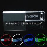 Vara leve da memória do USB do diodo emissor de luz movimentação de cristal do flash do USB da mini