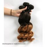 Pelo brasileño de la dicha del pelo humano de la onda del resorte del color de Brown del pelo de la Virgen
