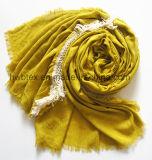 Neue Art-Ebenen-Farben-dickflüssiger Check-Jacquardwebstuhl-Schal mit Troddeln (HWBVS067)
