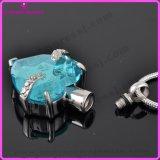 Urne commémorative pendante d'acier inoxydable de la pierre gemme 316L de collier d'incinération de coeur de réglage de fourche (IJD9790)