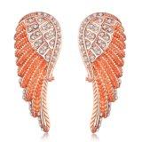 Pendientes de las mujeres del diamante de los pendientes del oro de las mujeres del Zircon de la dimensión de una variable de la pluma