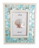 真珠色のモザイク写真フレームの青い額縁4X6のインチ
