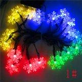A corda solar do floco de neve do diodo emissor de luz ilumina a festa de Natal que remove ervas daninhas da corda solar ao ar livre 6M do diodo emissor de luz das cordas decorativas da iluminação 30