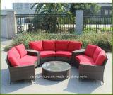 藤のソファーセットのあたりの半分柳細工の屋外の家具の総合的な庭