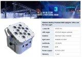고성능 12PCS 18W 6in1 무선 건전지에 의하여 운영하는 LED 동위 빛