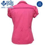 Blusa de las mujeres de la manera del cordón del algodón de la Corto-Funda del botón del melocotón