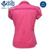 Pfirsich-Taste Kurz-Hülse Drehen-Unten Muffen-Baumwolle elastisch Seite-Entfernt Form-Frauen-Bluse