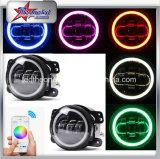 지프 논쟁자를 위해 Jk/Tj/Cj/Lj는 10-30V 자동 차 보편적인 RGB 색깔 LED DRL 빛 4 인치 LED 안개 램프 달무리 반지 안개등을 도매한다
