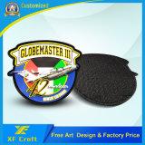 Flard van het Etiket van pvc van de douane het Rubber 3D met Hete Klitband op Rug (xf-PT08)